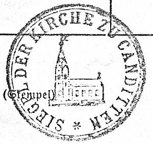 Stempelabdruck der Kirche zu Canditten